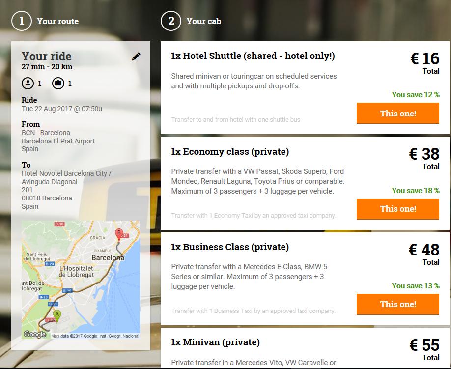 Book a prepaid airport taxi Barcelona